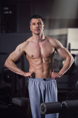 Handsome bodybuilder posing in gym, perfect muscular male body