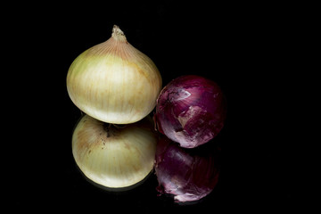 red onions on black