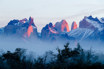 Sunrise on the horns in Torres del Paine National Park, Chile