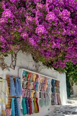 Fuchsia bougainvillea in Greek island alley