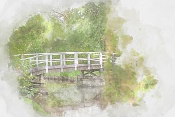 Bridge in park, Holand, digital watercolor illustration