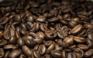 Closeup view of brown coffee beans texture