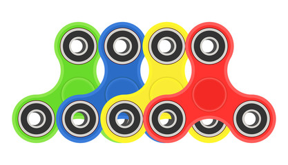 Wall Murals Graffiti collage Color hand fidget spinners set. Vector illustration isolated on white background.