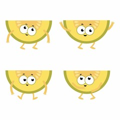 set cartoon melons