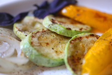 Photo of delicious roasted vegetables