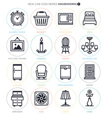 Vector Icon Set of Household Objectified Actions and Terms.