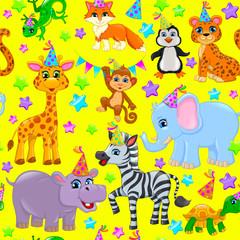 Seamless animal pattern stars birthday cone on yellow