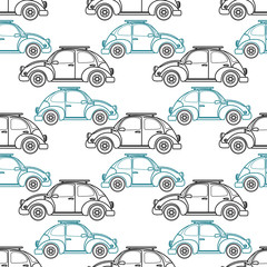 Cartoon retro car seamless pattern. Vector illustration.