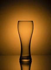 Empty beer glasse on the light