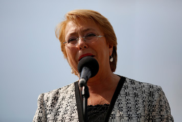 Chile's President Michelle Bachelet arrives at the XII Cumbre Alianza del Pacifico (Pacific Alliance) political summit in Cali