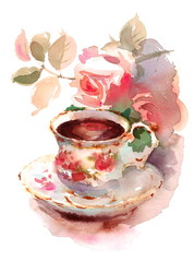 Watercolor Vintage Porcelain Teacup and Garden Roses Flowers Floral Hand Painted Illustration