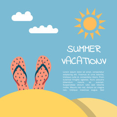 Summer vacation on the beach, illustration in flat style.