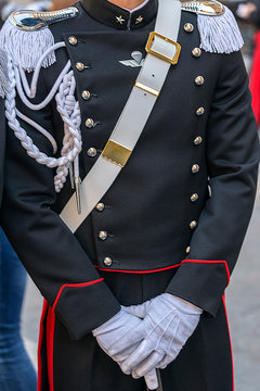 Detail of a protocol uniform of an Italian soldier
