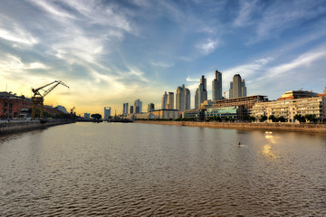 MAY 20, 2015 Puerto Madero, Buenos Aires Cityscape. touristic destination in Buenos Aires, Argentina