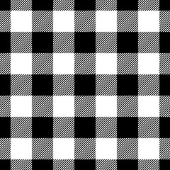 Lumberjack plaid pattern in black and white. Seamless vector pattern. Simple vintage textile design.