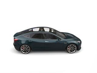 Dark metallic green modern electric business car - side view