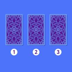 Three card tarot spread. Reverse side. Number 1, 2, 3. Vector illustration