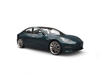 Dark metallic green modern electric business car - studio shot