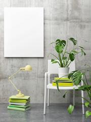 Working desk with green books, mock up poster 3d illustration