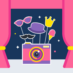 Photo Camera with Props and Booth Curtains