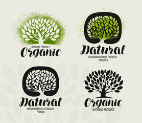 Natural, organic product label set. Tree with leaves icon or logo. Handwritten lettering, calligraphy vector illustration