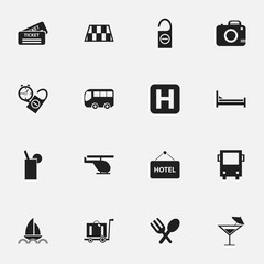 Set Of 16 Editable Travel Icons. Includes Symbols Such As Helipad, Lemonade, Yacht And More. Can Be Used For Web, Mobile, UI And Infographic Design.
