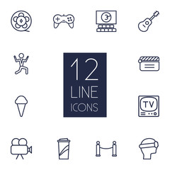 Set Of 12 Pleasure Outline Icons Set.Collection Of Dancing Man, Clapperboard, Game Controller And Other Elements.