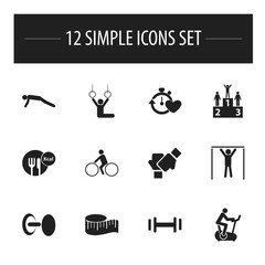 Set Of 12 Editable Sport Icons. Includes Symbols Such As Strength, Gauntlet, Acrobat And More. Can Be Used For Web, Mobile, UI And Infographic Design.