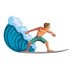 Surfer in front of & riding a wave.