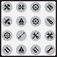 Set Of 16 Editable Service Icons. Includes Symbols Such As Instrument, Spanner, Screwdriver Wrench And More. Can Be Used For Web, Mobile, UI And Infographic Design.