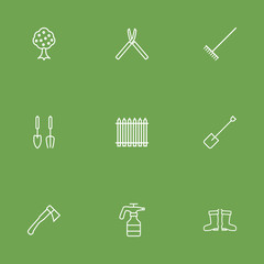 Set Of 9 Farm Outline Icons Set.Collection Of Waterproof Shoes, Hatchet, Shears And Other Elements.