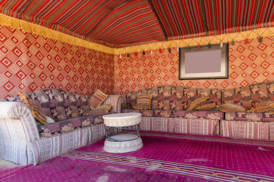 Interior of a desert tent for tourists