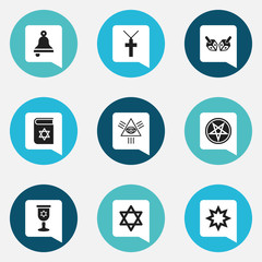 Set Of 9 Editable Faith Icons. Includes Symbols Such As Baphomet Symbol, Bible, Ringer And More. Can Be Used For Web, Mobile, UI And Infographic Design.