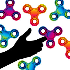 Fidget hand finger spinner stress relieving, colorful toy for removing anxiety and increasing concentration.