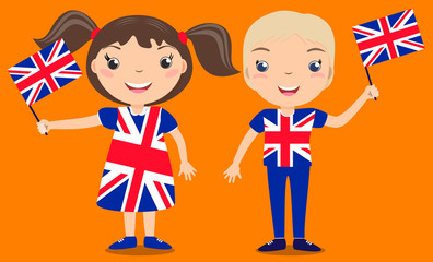 Smiling children, boy and girl, holding a Great Britain flag isolated on orange background. Vector cartoon mascot. Holiday illustration to the Day of the country, Independence Day, Flag Day.