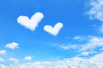 white heart shaped clouds on blue sky