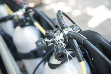 diving regulator on diving cylinder tank