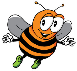 Cartoon Illustration of a Happy Bee
