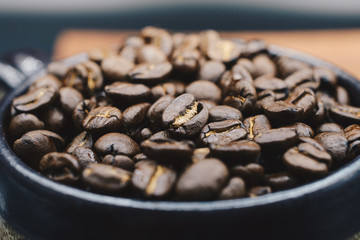 The macro of roasted coffee beans.
