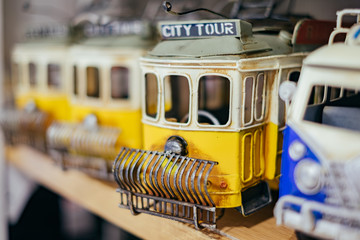 Yellow toys vintage train on the shelf