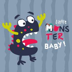 little monster baby scream. vector cartoon illustration