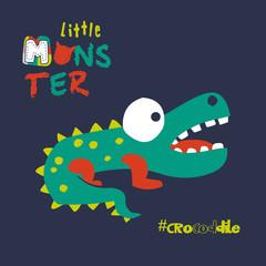 little monster crocodile. vector cartoon illustration