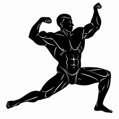 illustration of bodybuilder , vector drawing