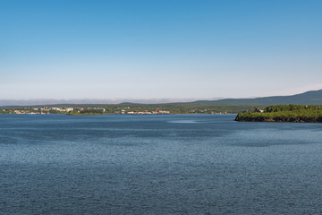 View of the Soviet Harbor through the sea bay