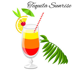 Tequila sunrise  cocktail  isolated on white