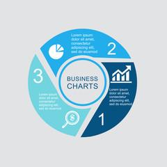Business Diagram circle 3 4 5 6