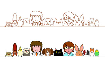 veterinarians and pets animals border set