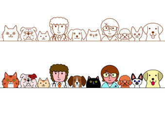 veterinarians and pet cats and dogs border set