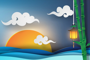 paper art of sea view with sunset light beautiful, japan style,at night