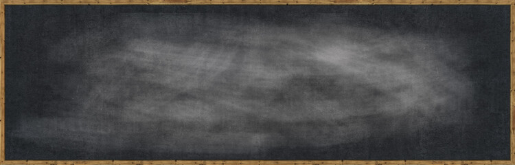 Frame Blank chalk rubbed out on blackboard for text or drawing or education graphic.